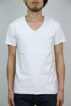 2ply cut-off V-neck S/S