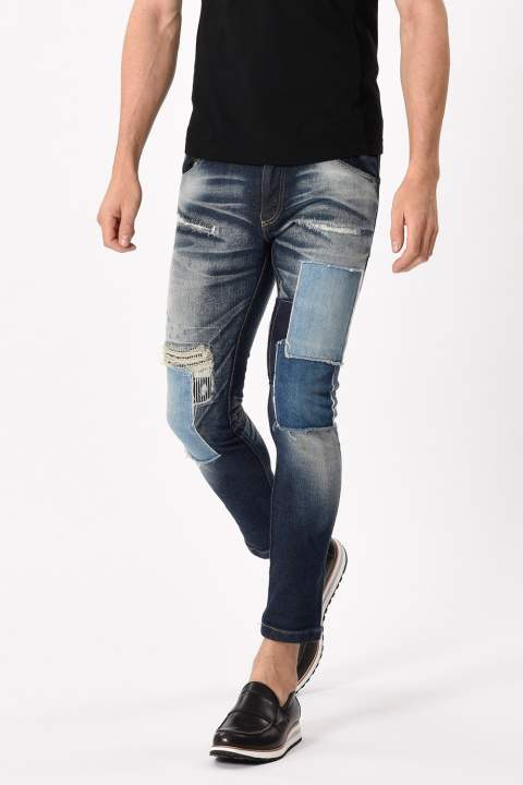 tight knit-denim pants USED
