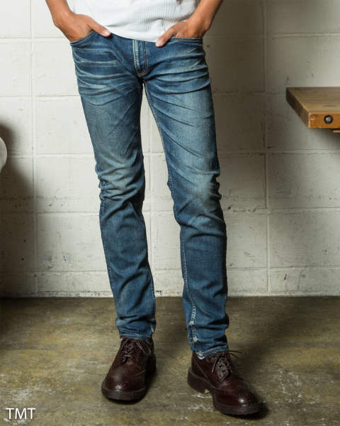 hybrid-stretch vintage finish denim 5P taperd / インディゴライト