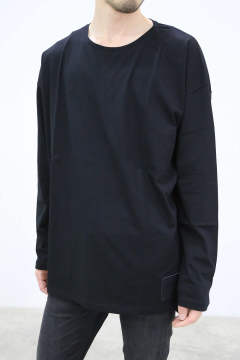 leather patch long sleeve T-shirt / ブラック