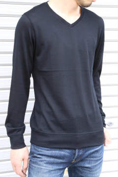 washable V-neck knit / ブラック