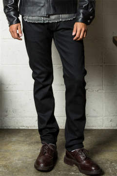 [9月入荷予定] hybrid-stretch rigid denim 5P taperd / ブラック
