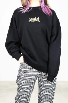 PATCHED CREW SWEAT TOP / ブラック