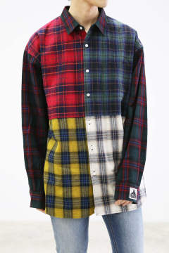 L/S PATCHWORK SHIRT / グリーン