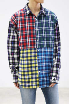 L/S PATCHWORK SHIRT / ホワイト